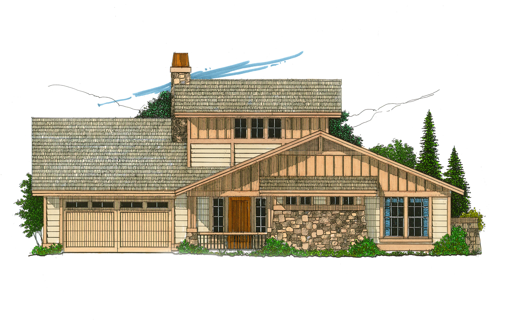 Neat and trim hill country home 12501rs architectural for Hill country plans