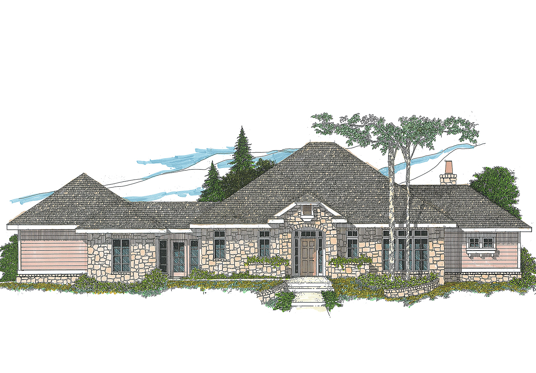 One level hill country home plan 12508rs 1st floor for One level country house plans