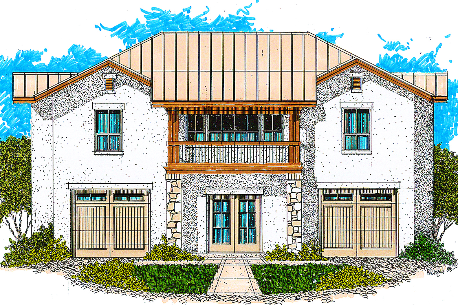 Texas country guest house plan 12528rs architectural for South texas house plans
