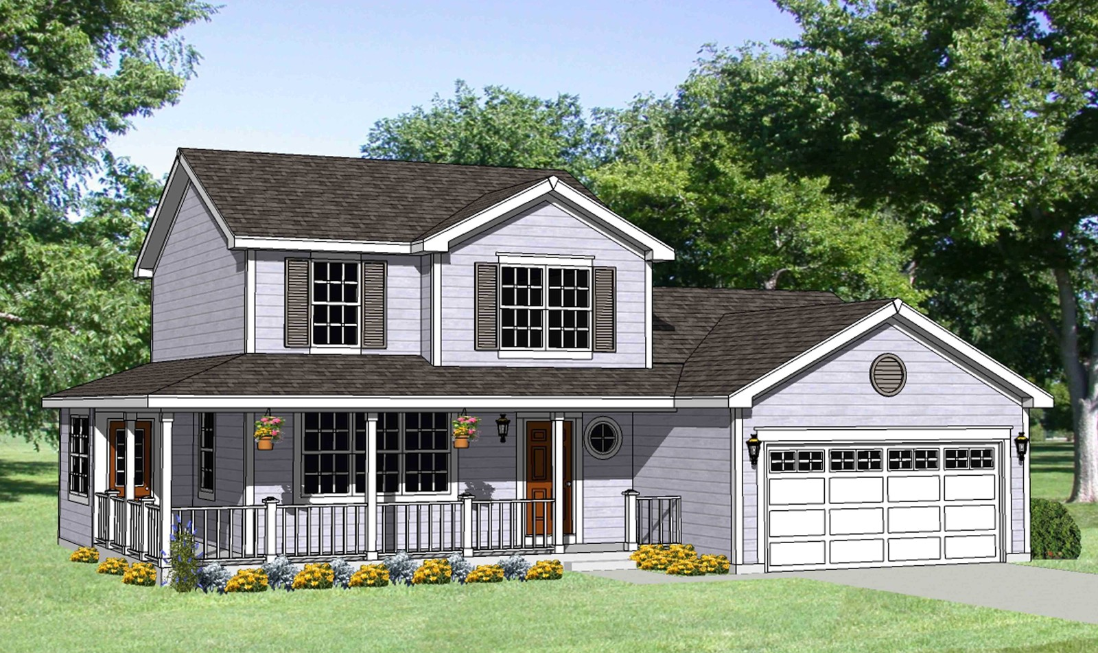 Country House Plan With Wrap-Around Porch
