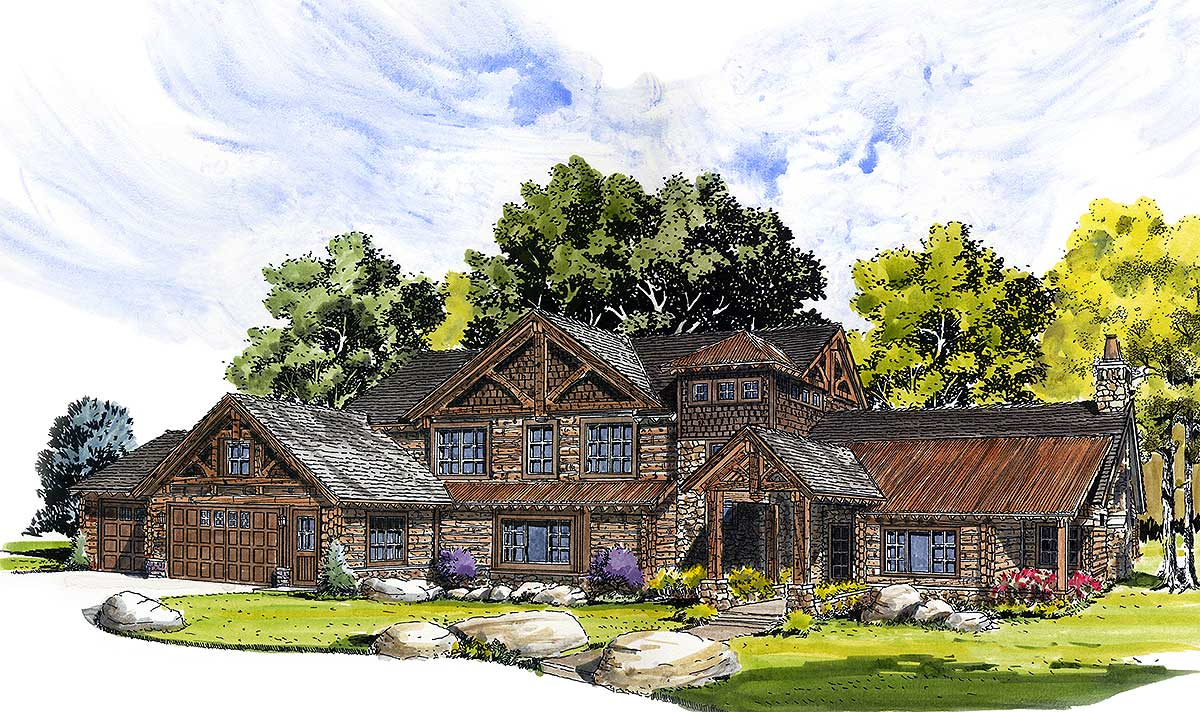 Rustic mountain retreat 12906kn architectural designs for Mountain plan