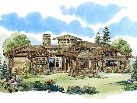 Exciting mountain home plan 12918kn 1st floor master for Mountain house library