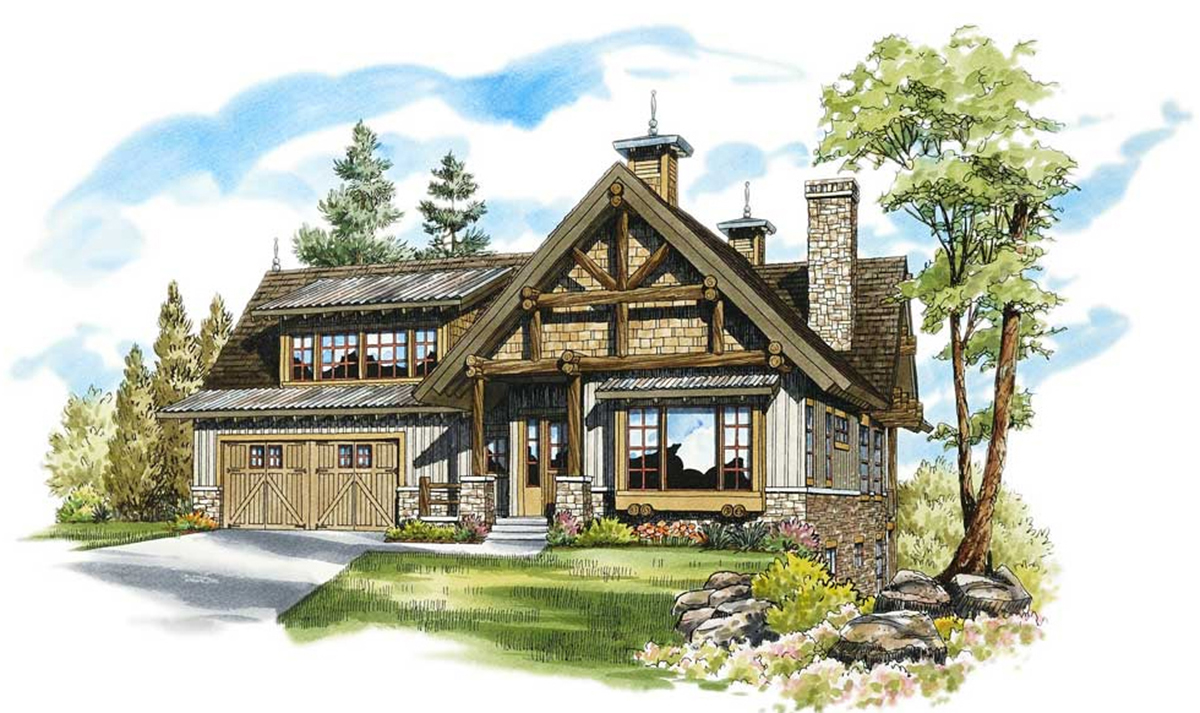 Enchanting mountain cottage 12919kn architectural for Mountain cottage home plans