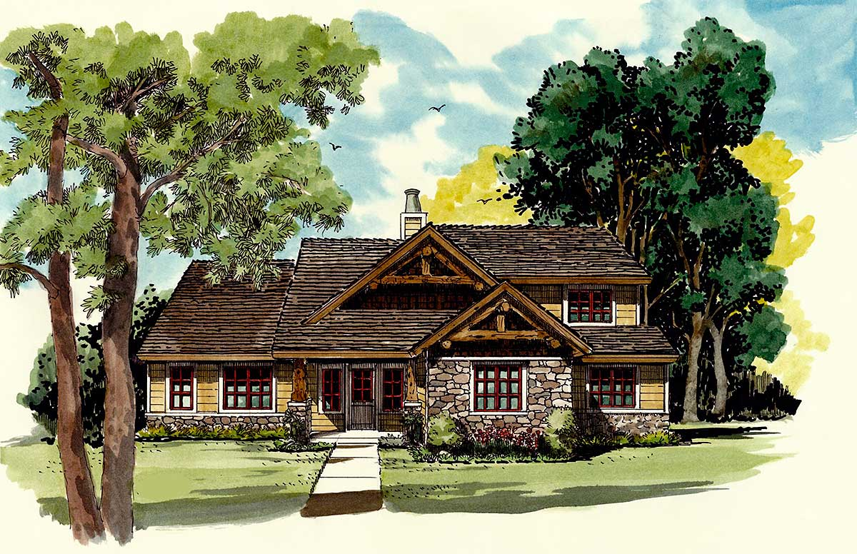 Rustic 4 bed craftsman home plan 12926kn architectural for Rustic craftsman house plans