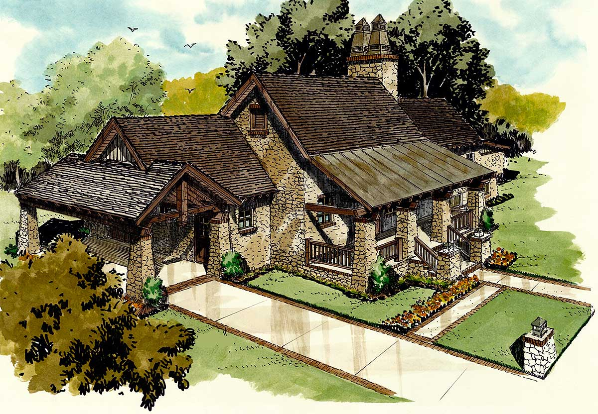 Inviting hill country home plan 12927kn architectural for Hill country design