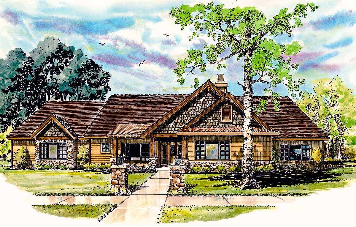 Mountain home with outdoor living space 12929kn for House plans with outdoor living