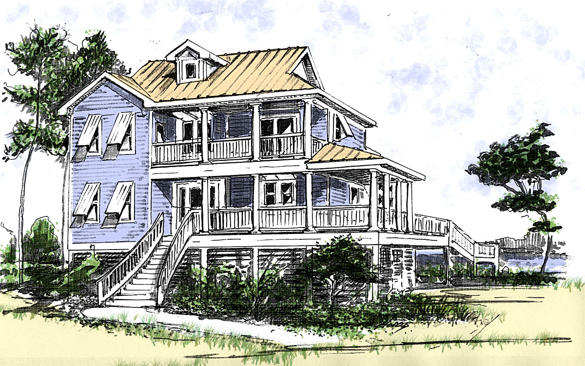 Beach house plan with two story great room 13034fl 1st for Double storey beach house designs