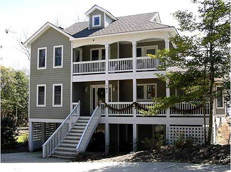 Beach house plan with two story great room 13034fl 1st for Two story beach house plans