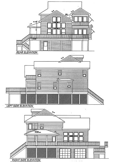 Beach house plan with two story great room 13034fl 1st for Narrow house plans with garage underneath