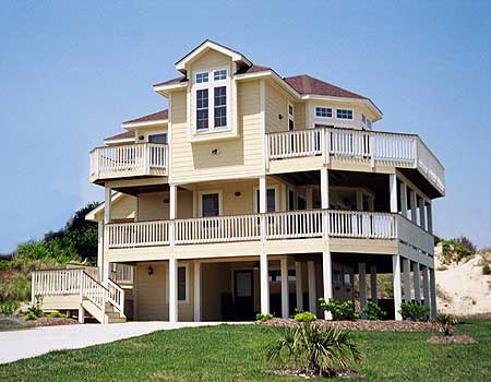 Narrow lot beach house plan 13038fl beach cad for Beach house designs with wrap around porch