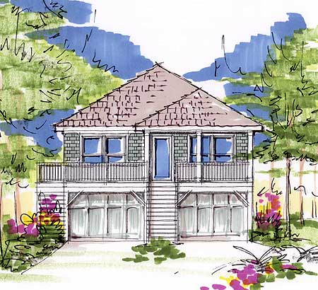 Narrow lot beach cottage 13095fl 1st floor master for Narrow beach house plans on pilings