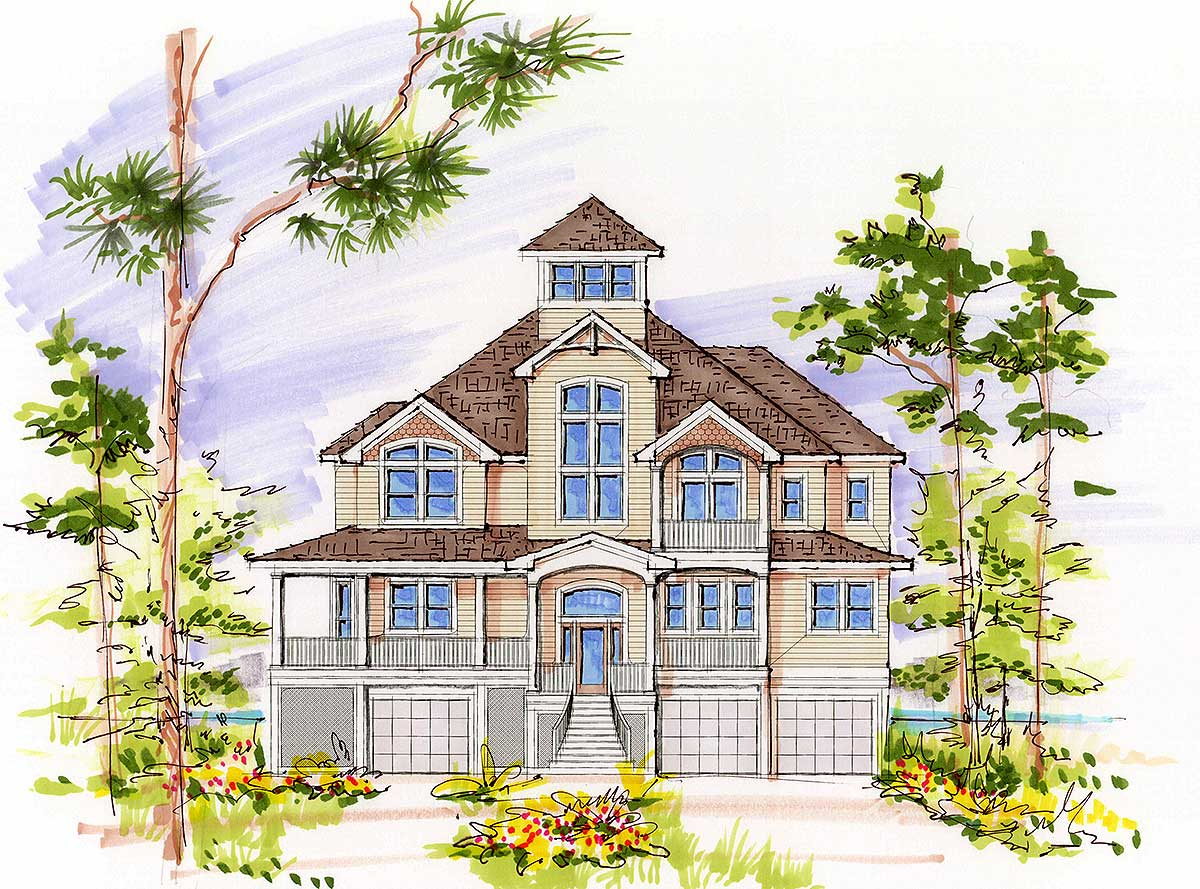 13127fl 1st floor master suite beach cad available for Beach house plans with garage underneath