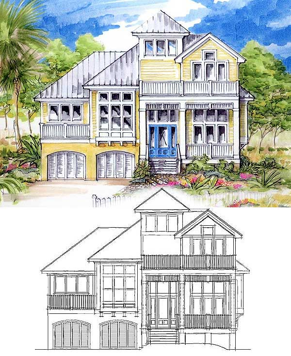 Classic coastal house plan 13128fl 2nd floor master for Florida house plans for narrow lots