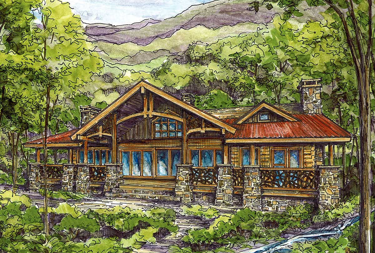 Log home plan with twin master suites 13305ww for Home suite homes