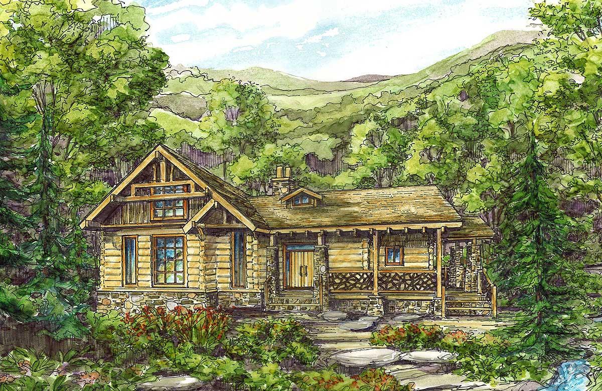 Log cabin with wraparound porches 13309ww 1st floor for Log cabin with wrap around porch