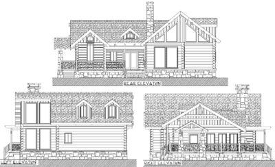 Log Cabin With Wraparound Porches - 13309WW   Architectural ...