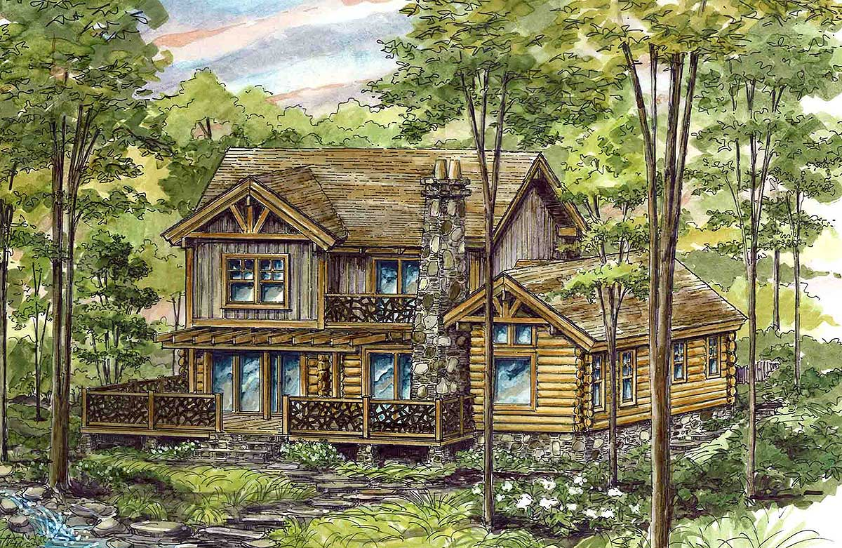 Captivating log cabin 13313ww architectural designs for Log home architects
