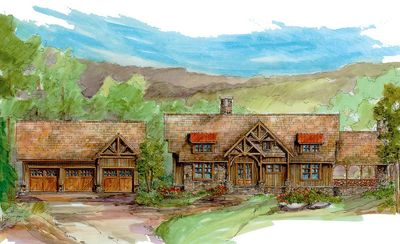 Magnificent Log Home Plan With Detached Garage - 13314WW thumb - 01