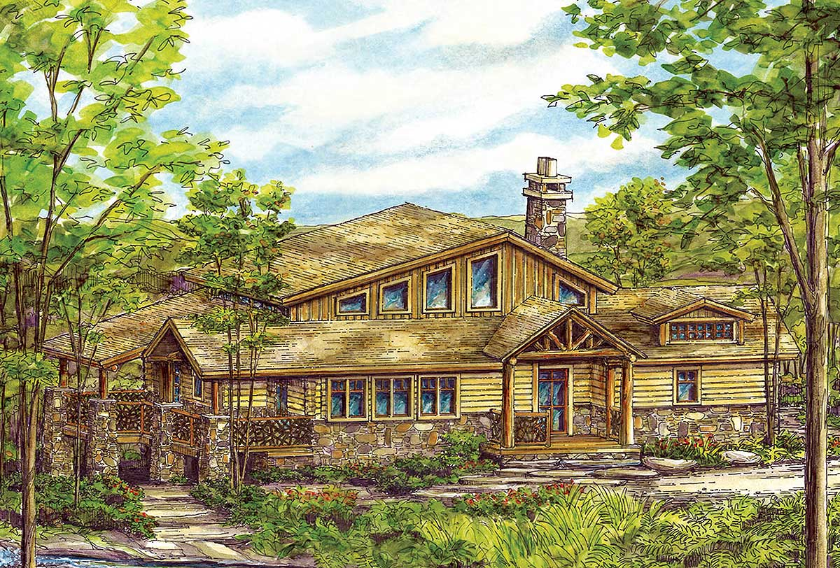 Log vacation home plan 13315ww architectural designs for Vacation log homes