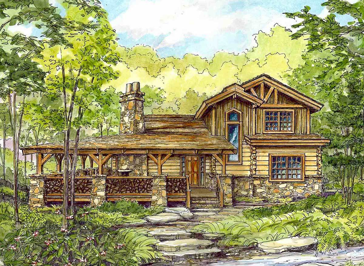 Huge wrap around porch 13318ww architectural designs for Two bedroom log homes