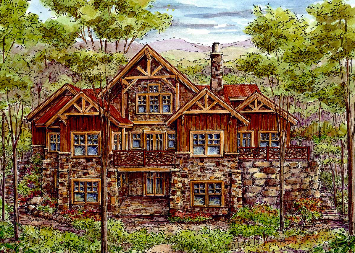 Luxury log home with finished lower level 13319ww for Luxury log homes plans