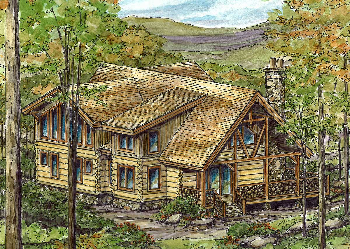 Log home with open floor plan 13321ww architectural for Open floor plans log homes