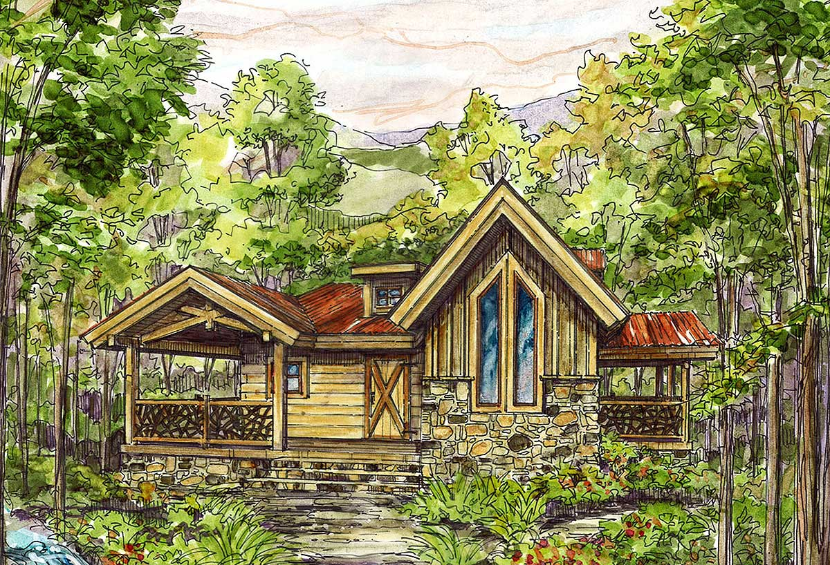 Cozy log home plan 13324ww 1st floor master suite cad for Cozy home plans