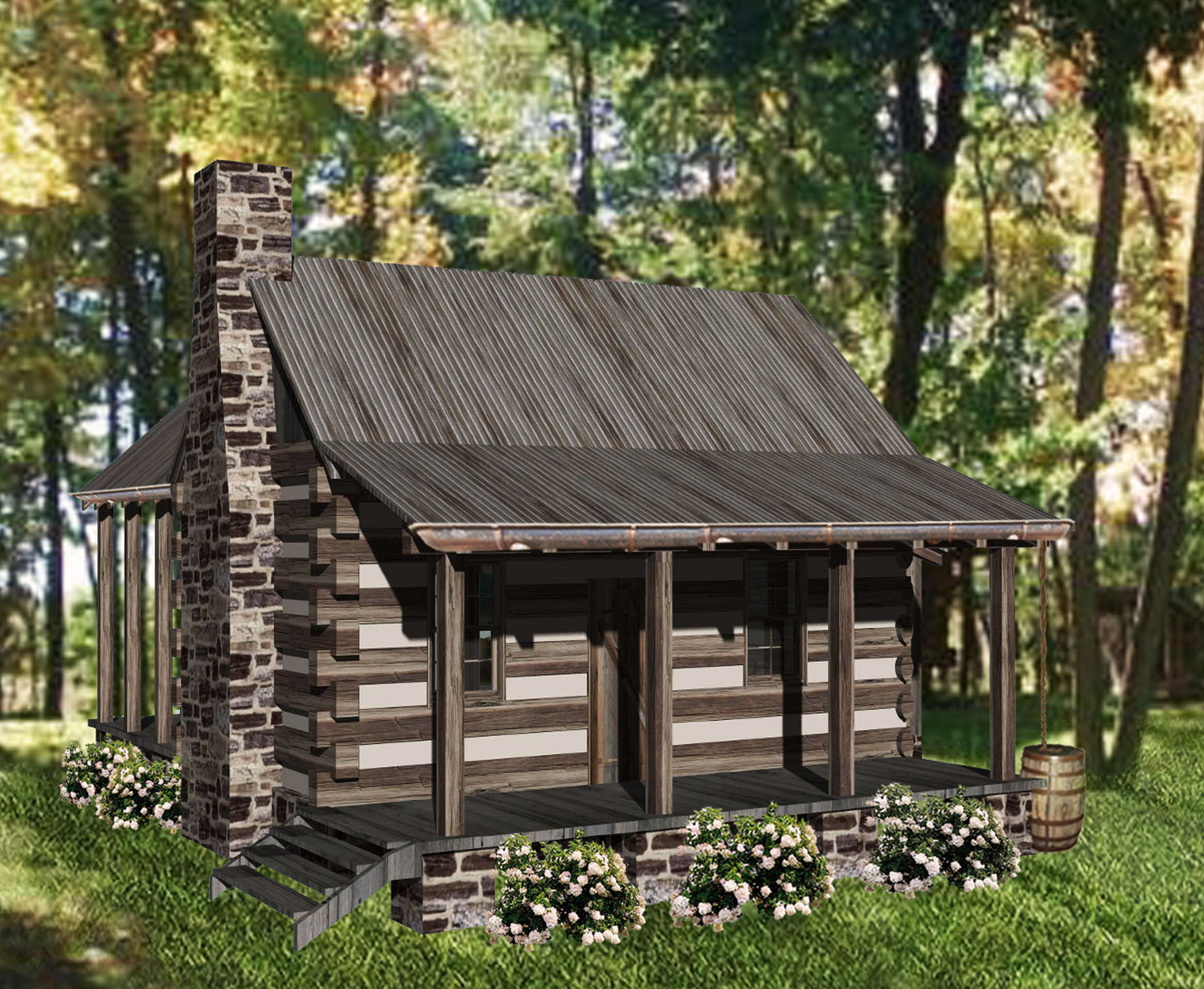 Cozy getaway log cabin 13328ww architectural designs for Log cabin designs