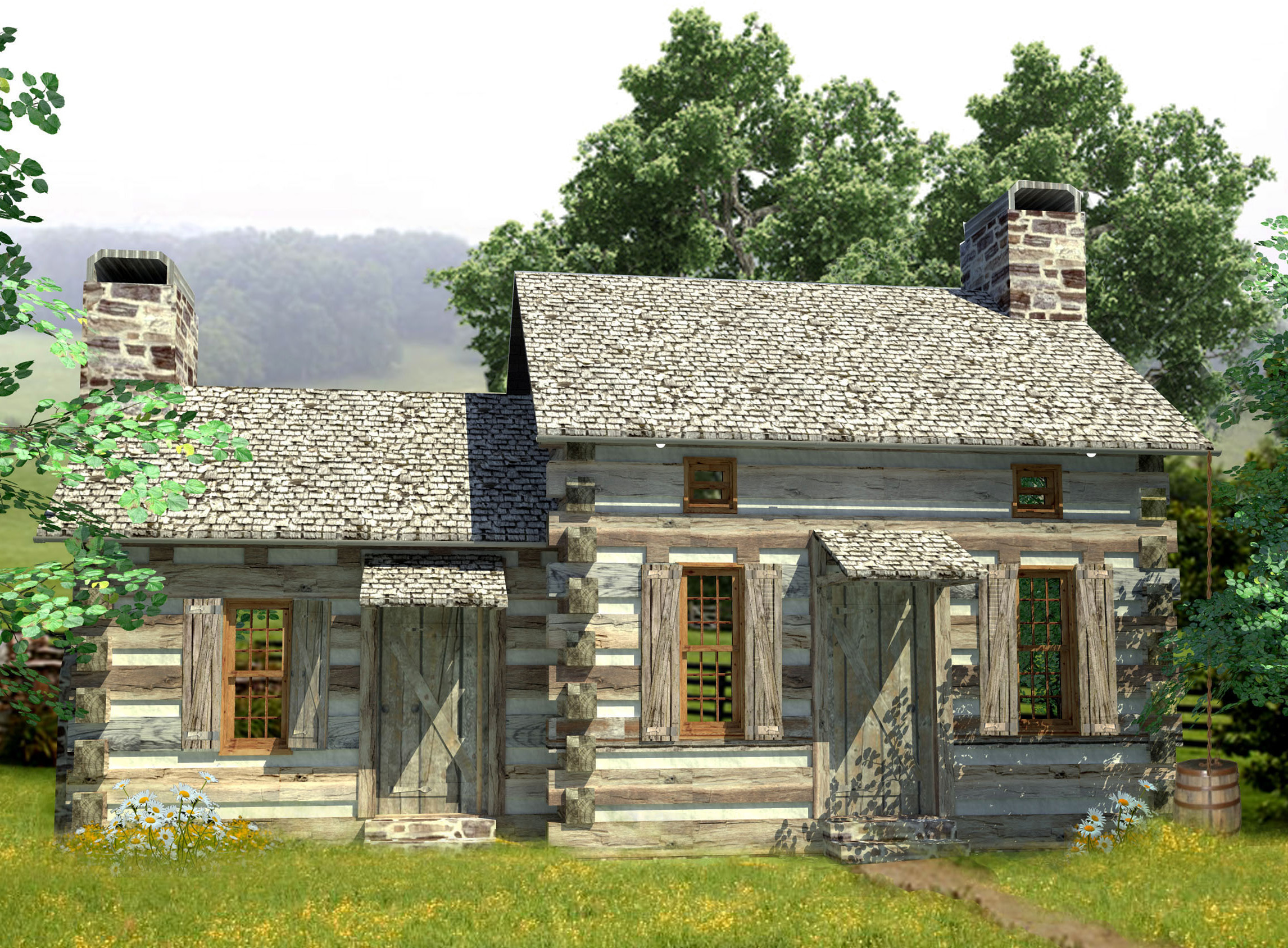 Cozy log cabin 13330ww 1st floor master suite cad for Mountain house library