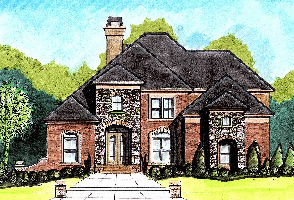 Stately european home plan 13485by architectural for European house