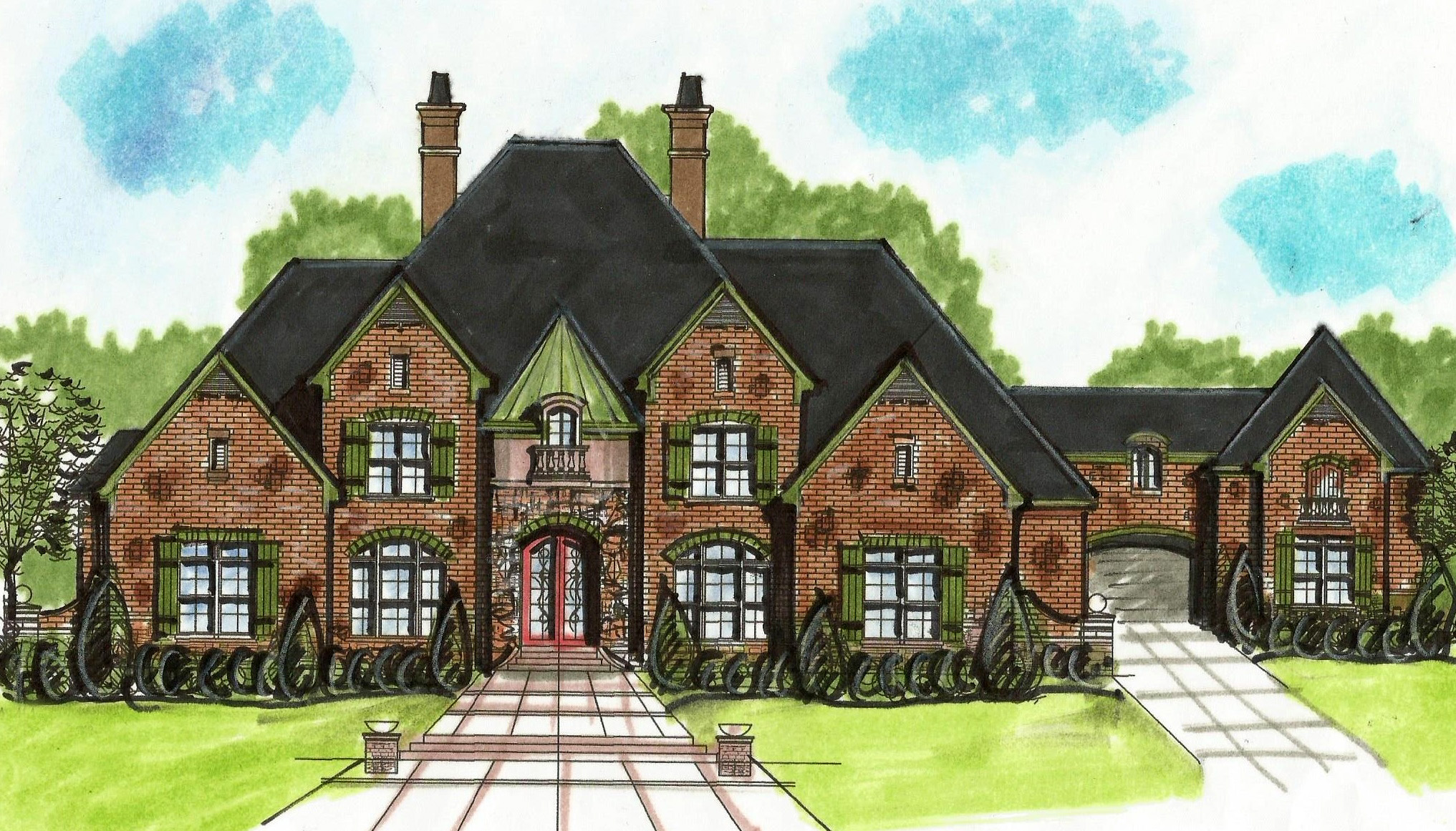 European house plan with porte cochere 13499by for What is a porte cochere