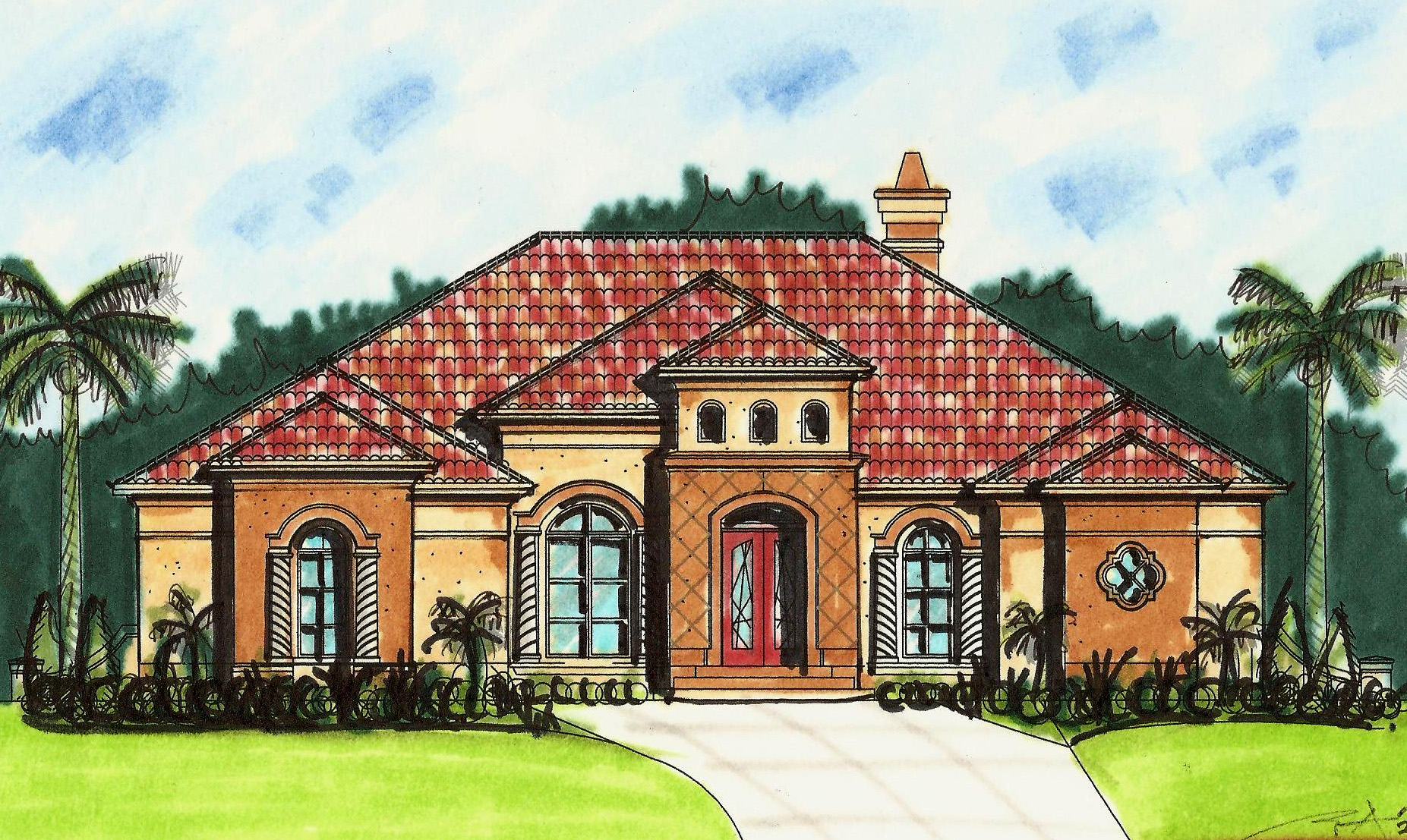Mediterranean House Plan With Open Layout