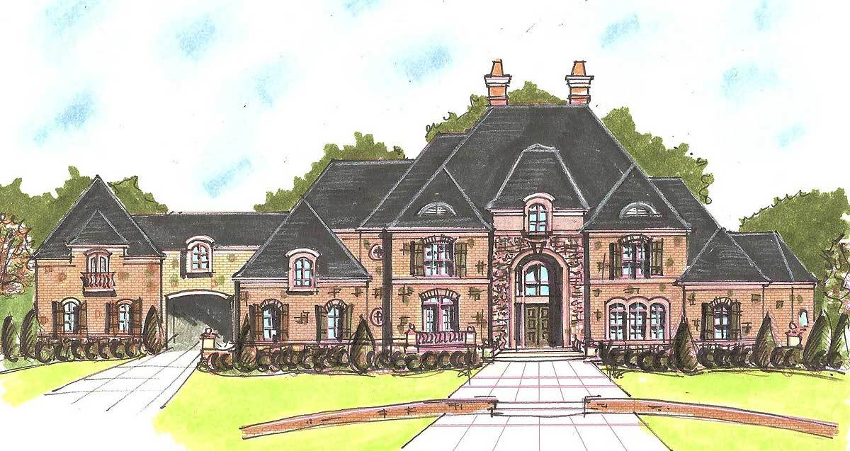 Palatial french country house plan 13511by for Palatial home designs