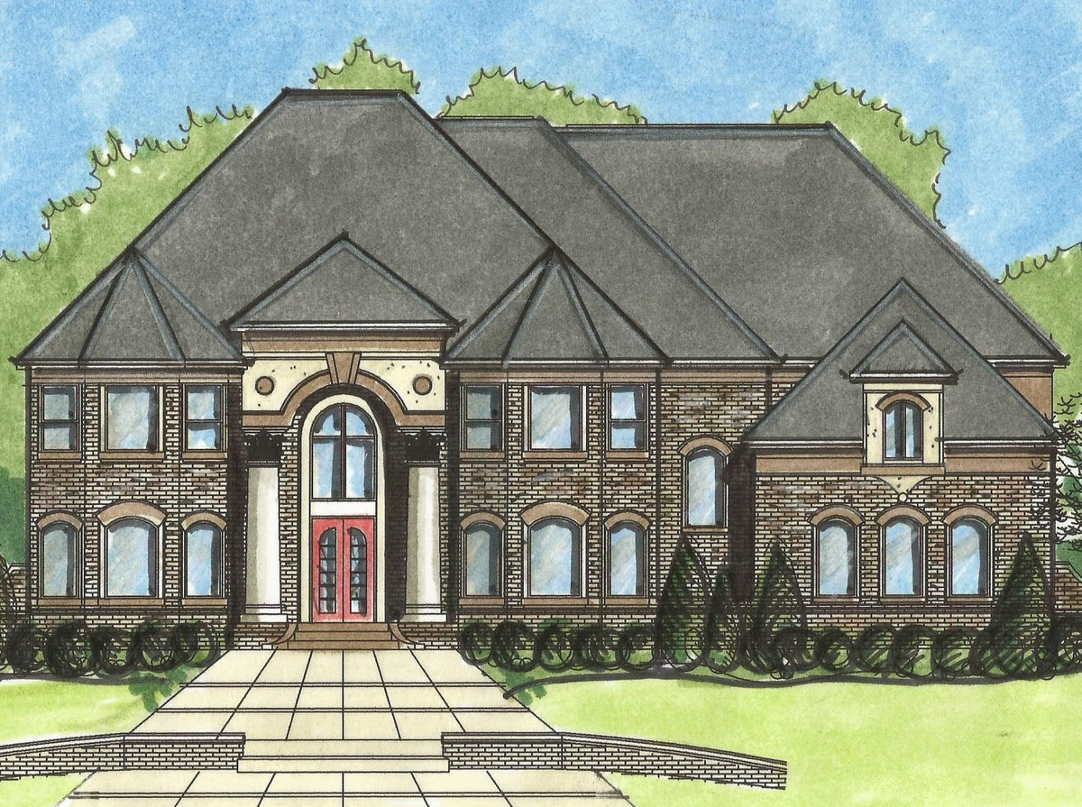 Twin turrets and two in law suites 13537by for Home plans with turrets