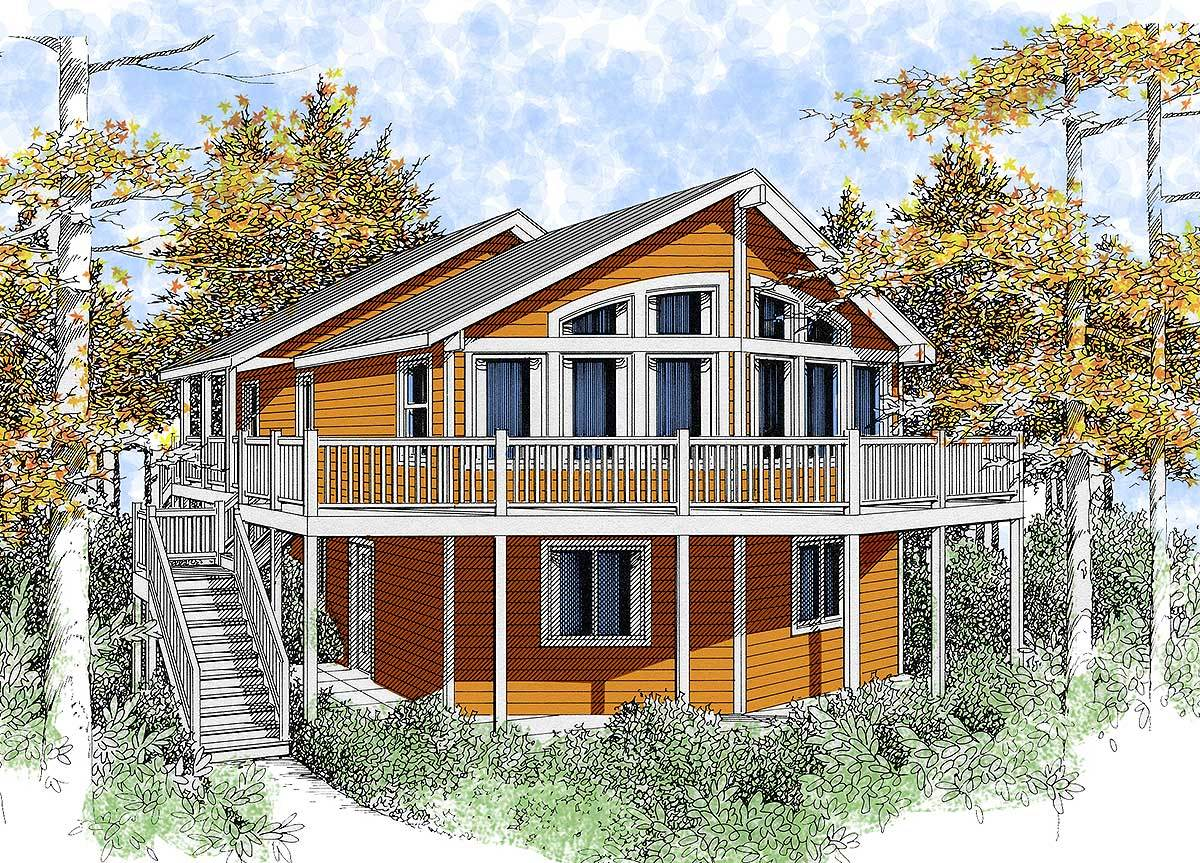 Wide open lakefront home plan 14001dt 1st floor master for Lakefront house plans sloping lot