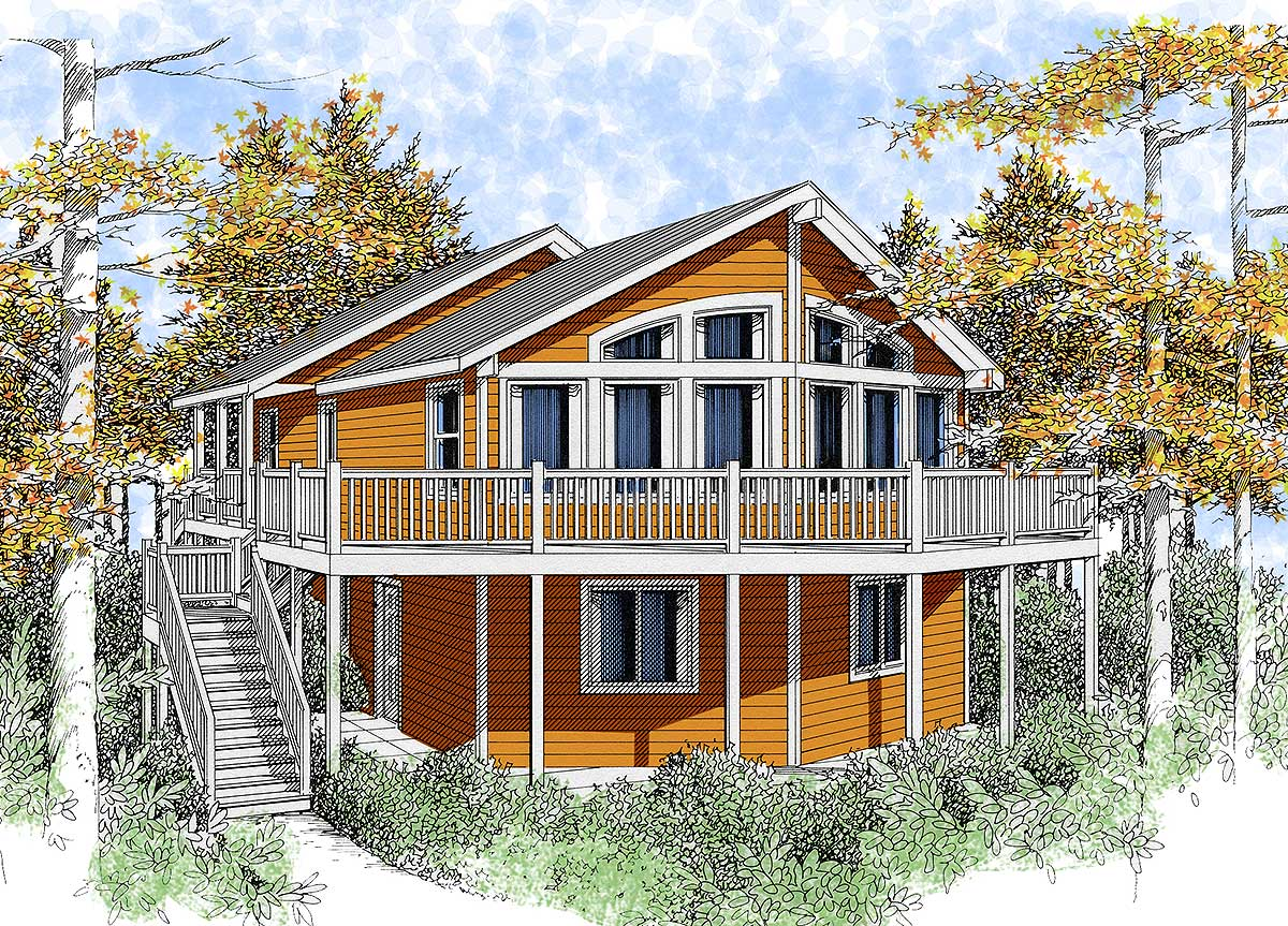 Wide open lakefront home plan 14001dt 1st floor master for Vacation house plans sloped lot