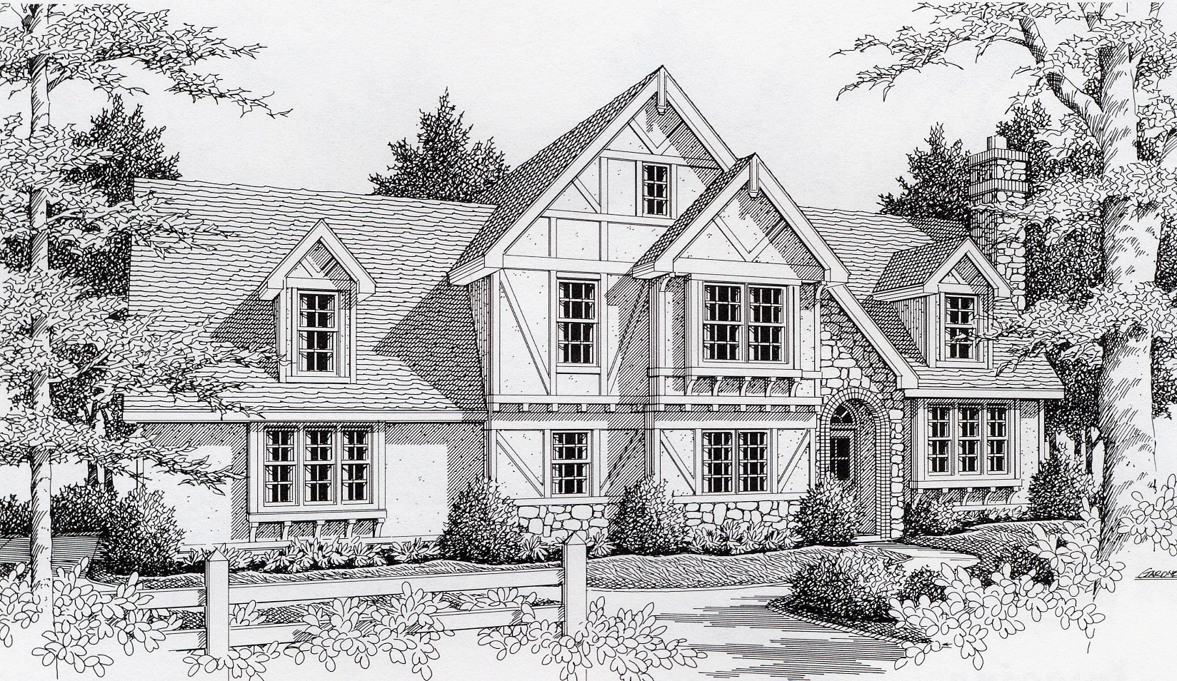Terrific tudor 14015dt 2nd floor master suite bonus for Tudor home plans