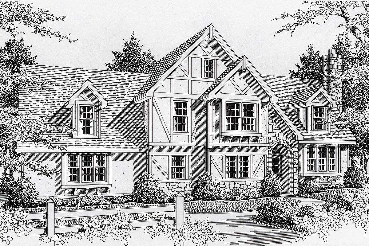 Terrific tudor 14015dt architectural designs house plans for Tudor house plans with photos