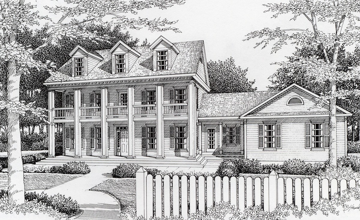 Southern plantation style 14020dt architectural for Plantation house plans