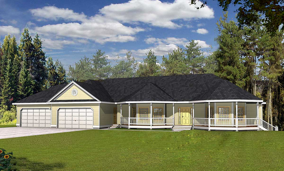 Octagonal front porch 14039dt architectural designs for Raised home