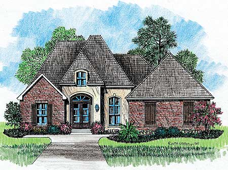 Classic country french home plan 14128kb architectural for Traditional country house plans