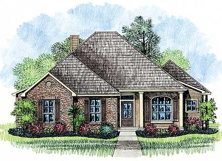 Classic country french house plan 14124kb acadian for Southern french country house plans