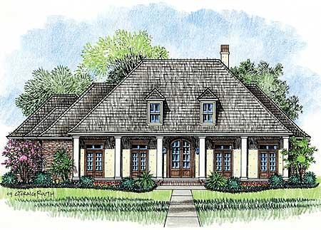 Wrap around porch with 8 columns 14138kb 1st floor for Acadian style house plans with wrap around porch