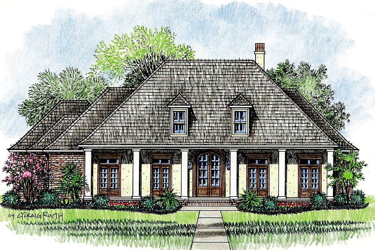 Wrap around porch with 8 columns 14138kb architectural for Acadian homes