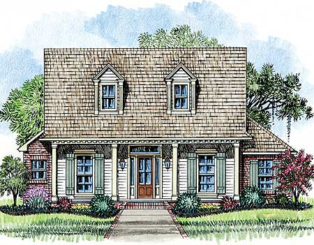 Acadian cottage house plan 14153kb architectural for Cypress porch columns