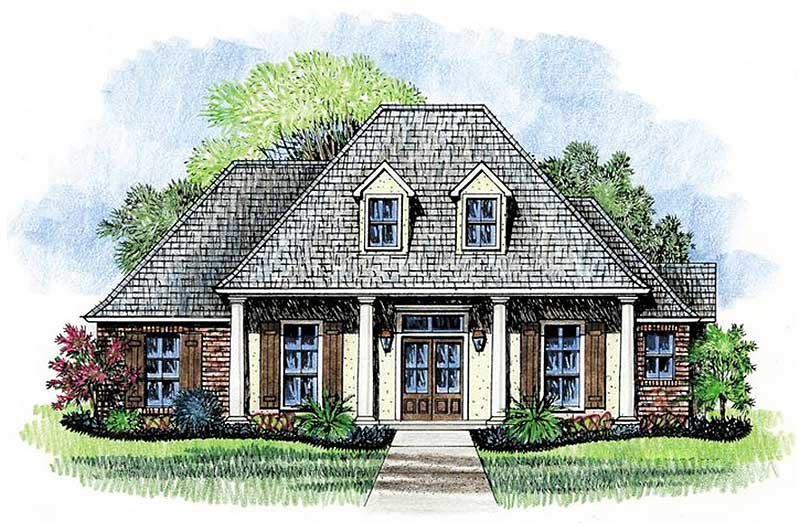 Four pillar front porch 14167kb 1st floor master suite for Acadian house plans with front porch