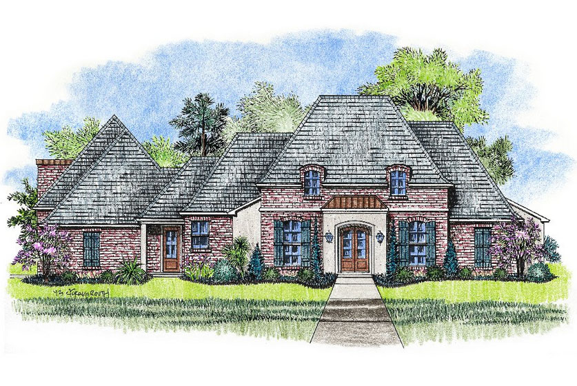 Country french house plan with bonus room 14180kb House plans with bonus rooms
