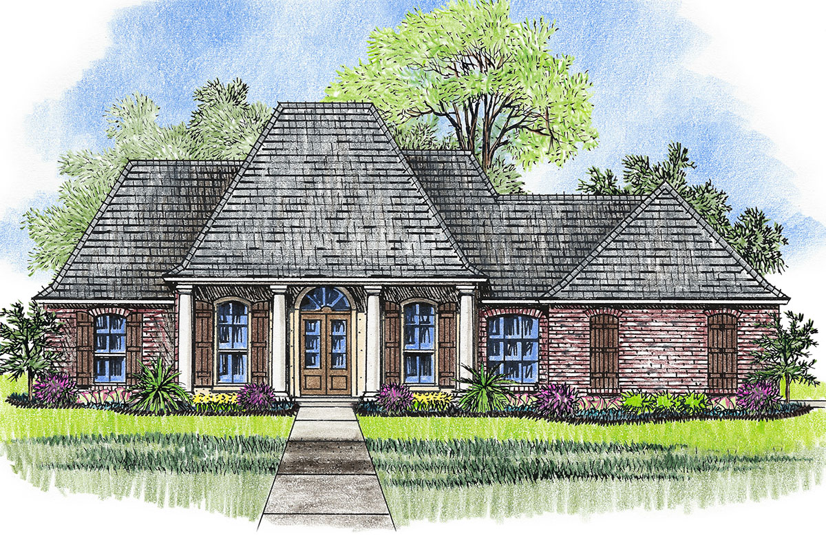 Beautiful acadian with welcoming porch 14181kb for Acadian house plans with front porch