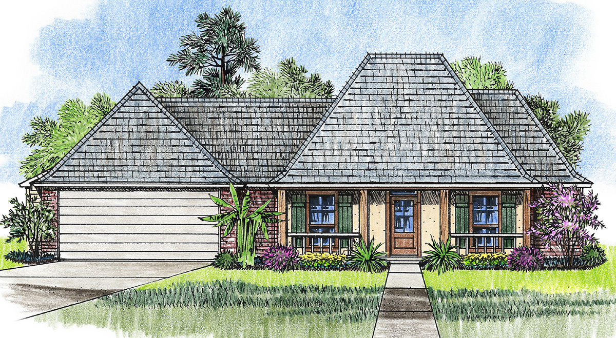 Acadian cottage with 3 bedrooms 14184kb 1st floor for Acadian cottage house plans