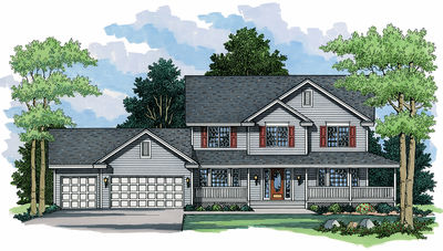 Farmhouse Plan with Two Elevations - 14312RK thumb - 01